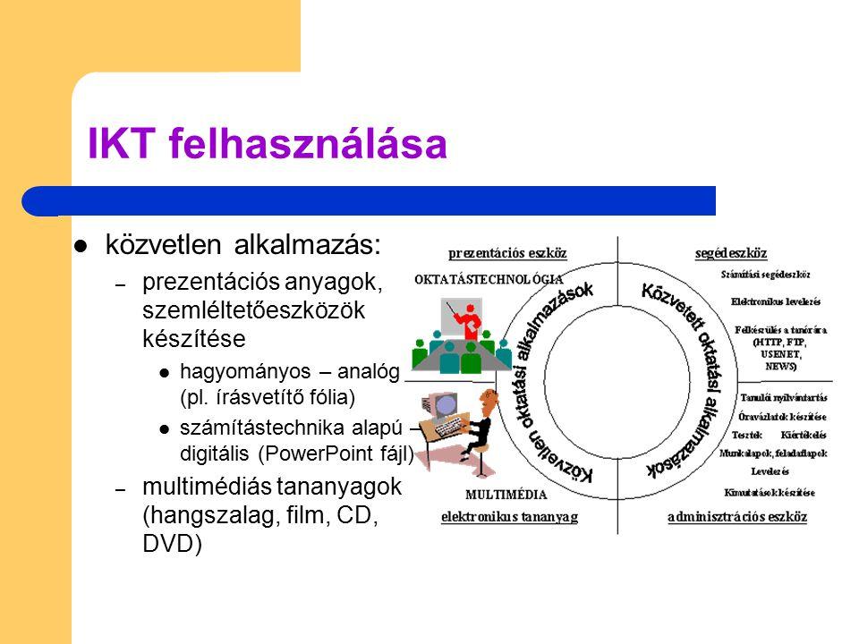 IKT felhasználása közvetett alkalmazás: – tanórai felkészülés (HTTP, FTP, e-mail) – adminisztráció tanulói nyilvántartás, tanmenetek, feladatlapok, tesztek, statisztikák, stb.