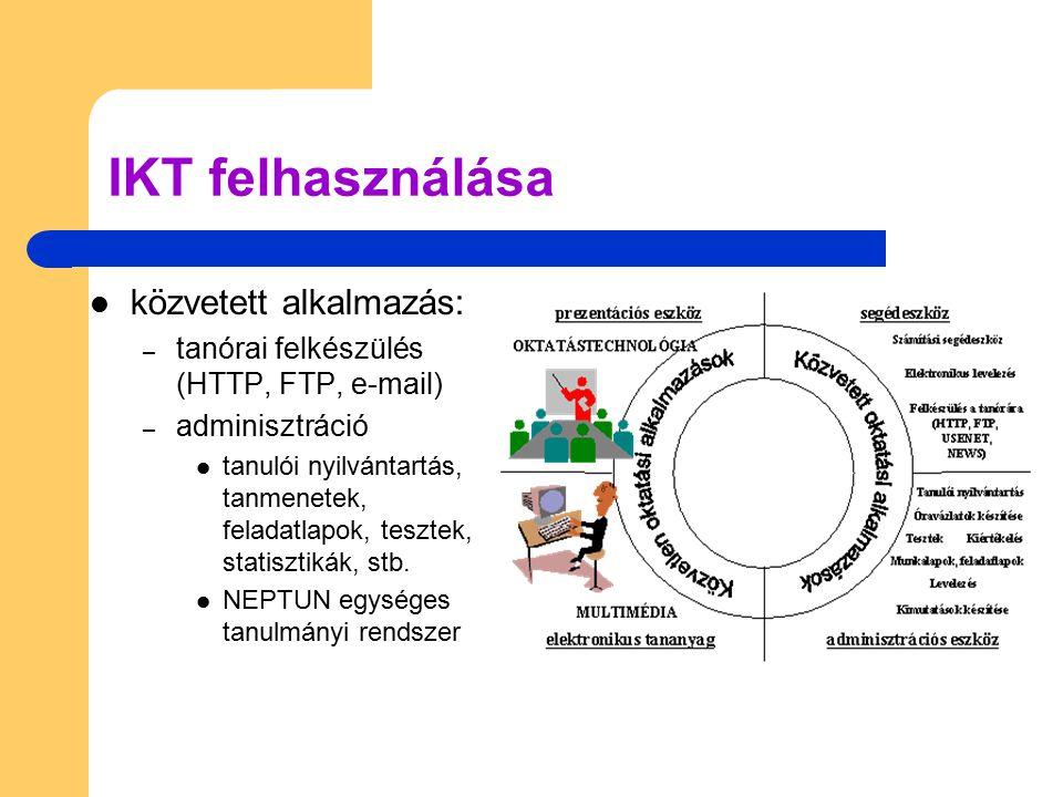 IKT felhasználása közvetett alkalmazás: – tanórai felkészülés (HTTP, FTP, e-mail) – adminisztráció tanulói nyilvántartás, tanmenetek, feladatlapok, te