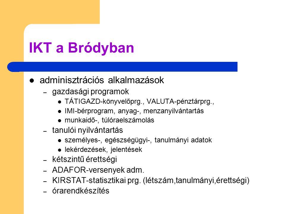 IKT a Bródyban adminisztrációs alkalmazások – gazdasági programok TÁTIGAZD-könyvelőprg., VALUTA-pénztárprg., IMI-bérprogram, anyag-, menzanyilvántartá