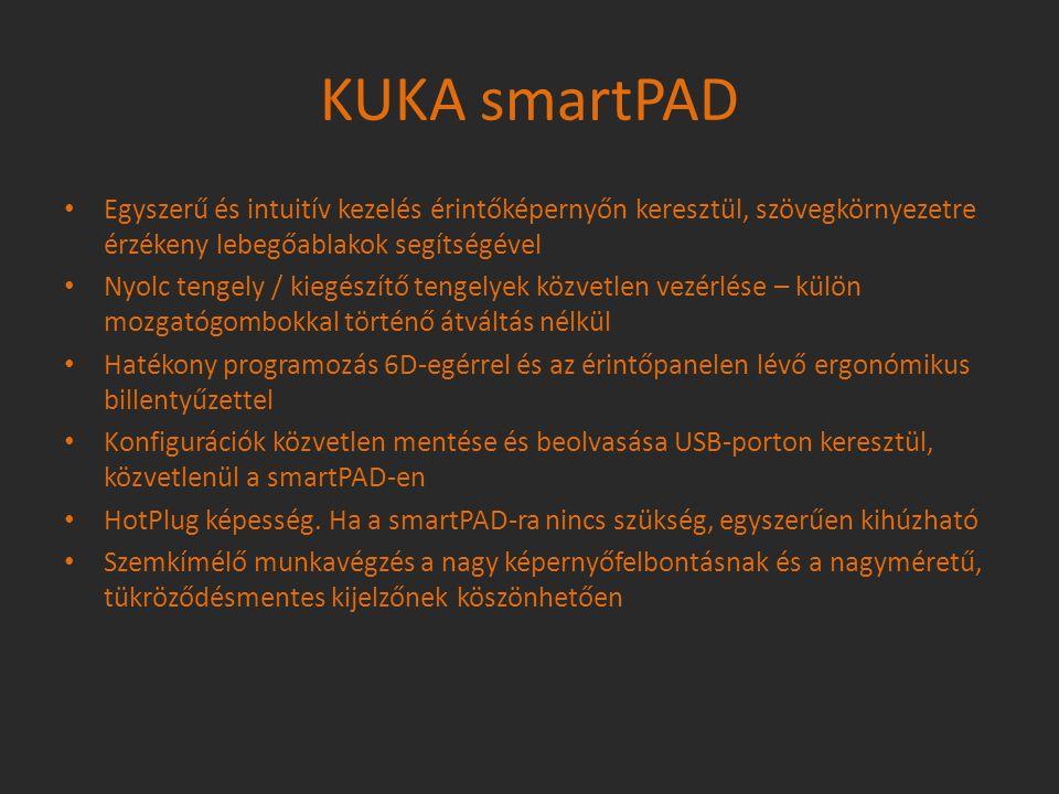 KUKA smartPAD Egyszerű és intuitív kezelés érintőképernyőn keresztül, szövegkörnyezetre érzékeny lebegőablakok segítségével Nyolc tengely / kiegészítő