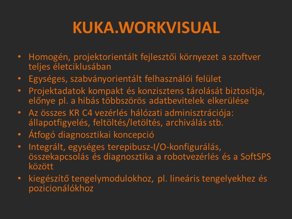 KUKA.WORKVISUAL Homogén, projektorientált fejlesztői környezet a szoftver teljes életciklusában Egységes, szabványorientált felhasználói felület Proje