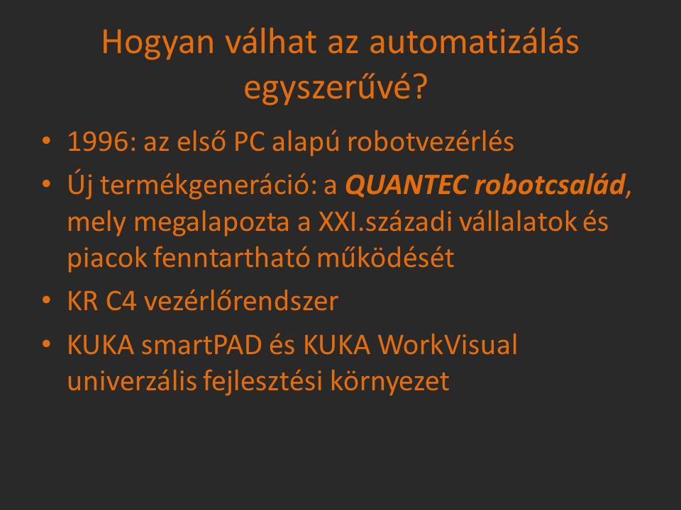 A Quantec robotcsalád Az eddigi legjobb teljesítmény Maximális biztonság (KUKA Safe Handling function) Könnyű kezelhetőség, nagy rugalmasság Akár 300kg-ig terjedő teherbírás Max.