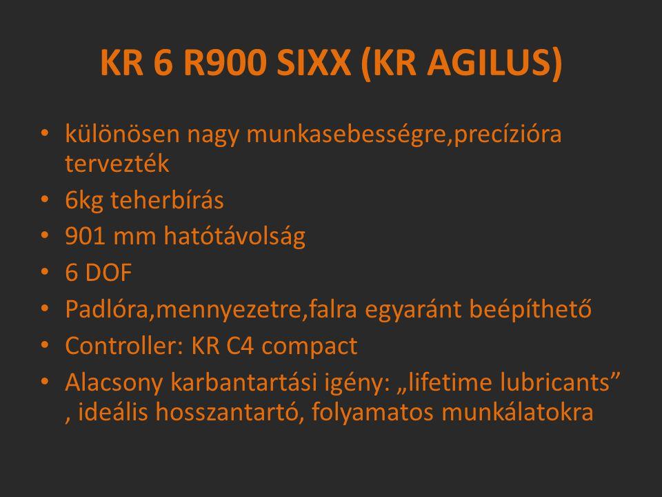 különösen nagy munkasebességre,precízióra tervezték 6kg teherbírás 901 mm hatótávolság 6 DOF Padlóra,mennyezetre,falra egyaránt beépíthető Controller: