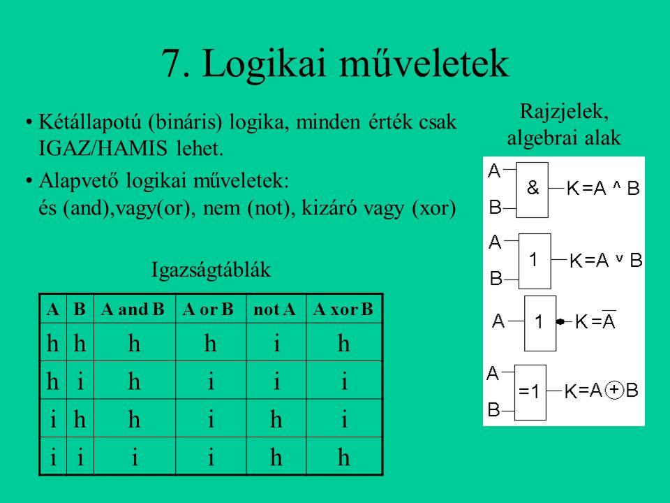 7. Logikai műveletek ABA and BA or Bnot AA xor B hhhhih hihiii ihhihi iiiihh Kétállapotú (bináris) logika, minden érték csak IGAZ/HAMIS lehet. Alapvet