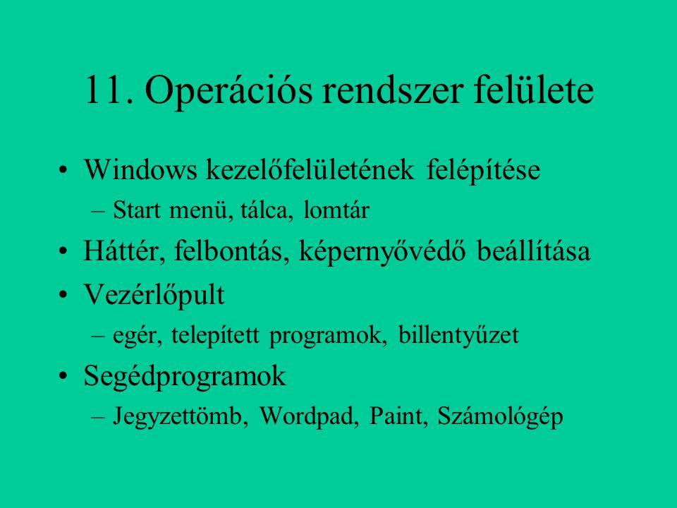 11. Operációs rendszer felülete Windows kezelőfelületének felépítése –Start menü, tálca, lomtár Háttér, felbontás, képernyővédő beállítása Vezérlőpult
