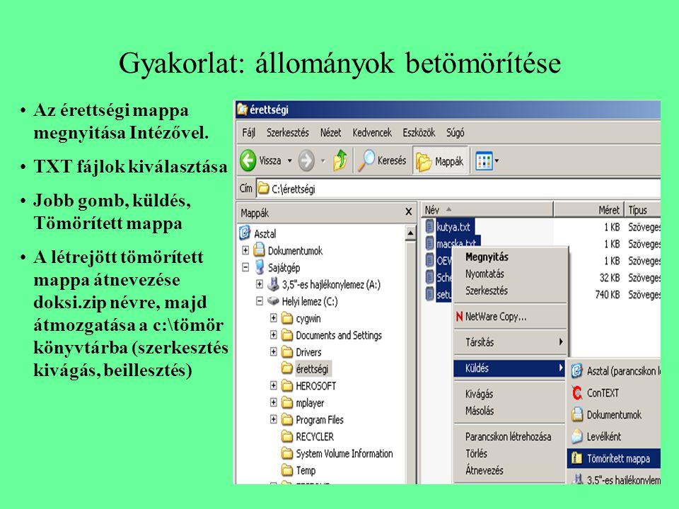 Gyakorlat: állományok betömörítése Az érettségi mappa megnyitása Intézővel. TXT fájlok kiválasztása Jobb gomb, küldés, Tömörített mappa A létrejött tö