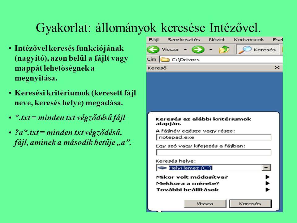 Gyakorlat: állományok keresése Intézővel. Intézővel keresés funkciójának (nagyító), azon belül a fájlt vagy mappát lehetőségnek a megnyitása. Keresési