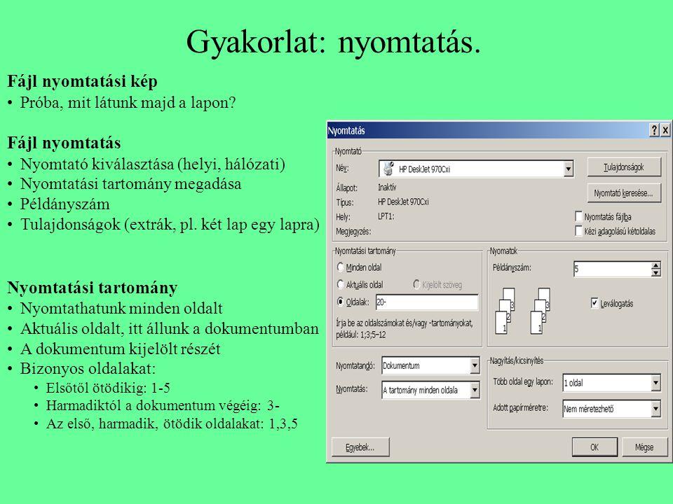 Gyakorlat: nyomtatás. Fájl nyomtatási kép Próba, mit látunk majd a lapon? Fájl nyomtatás Nyomtató kiválasztása (helyi, hálózati) Nyomtatási tartomány