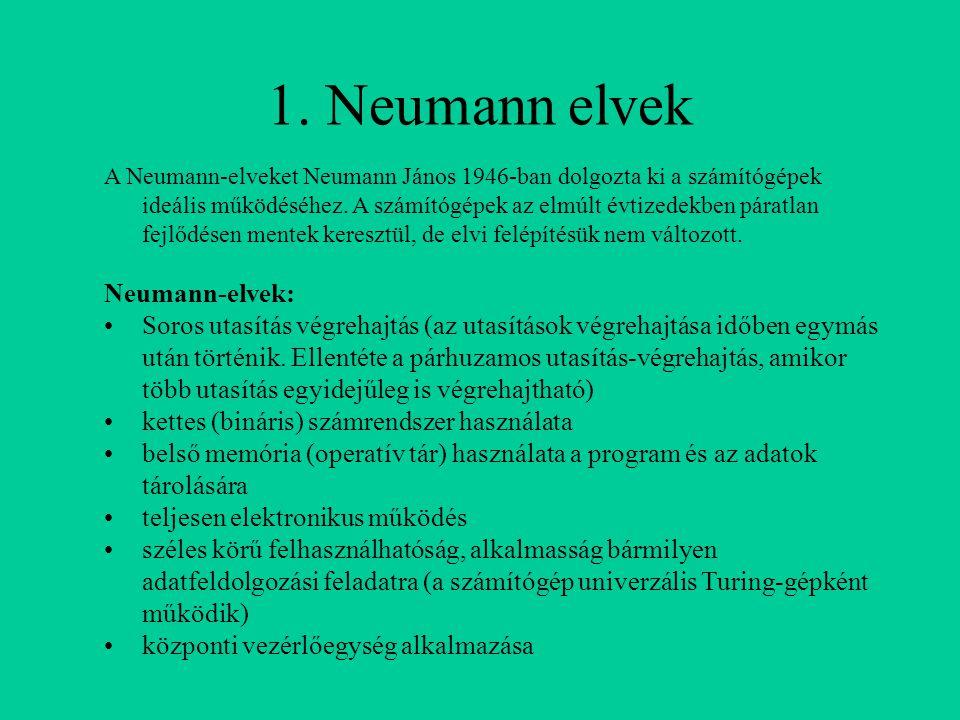 1. Neumann elvek A Neumann-elveket Neumann János 1946-ban dolgozta ki a számítógépek ideális működéséhez. A számítógépek az elmúlt évtizedekben páratl