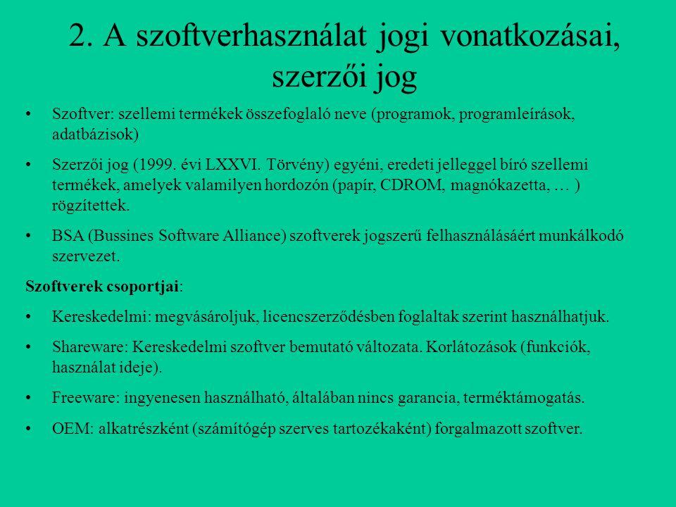 2. A szoftverhasználat jogi vonatkozásai, szerzői jog Szoftver: szellemi termékek összefoglaló neve (programok, programleírások, adatbázisok) Szerzői