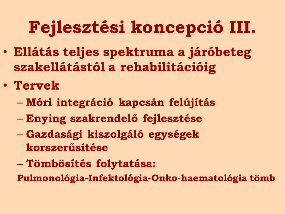 Fejlesztési koncepció III. Ellátás teljes spektruma a járóbeteg szakellátástól a rehabilitációig Tervek – Móri integráció kapcsán felújítás – Enying s