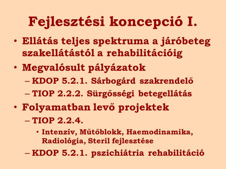 Fejlesztési koncepció I. Ellátás teljes spektruma a járóbeteg szakellátástól a rehabilitációig Megvalósult pályázatok – KDOP 5.2.1. Sárbogárd szakrend