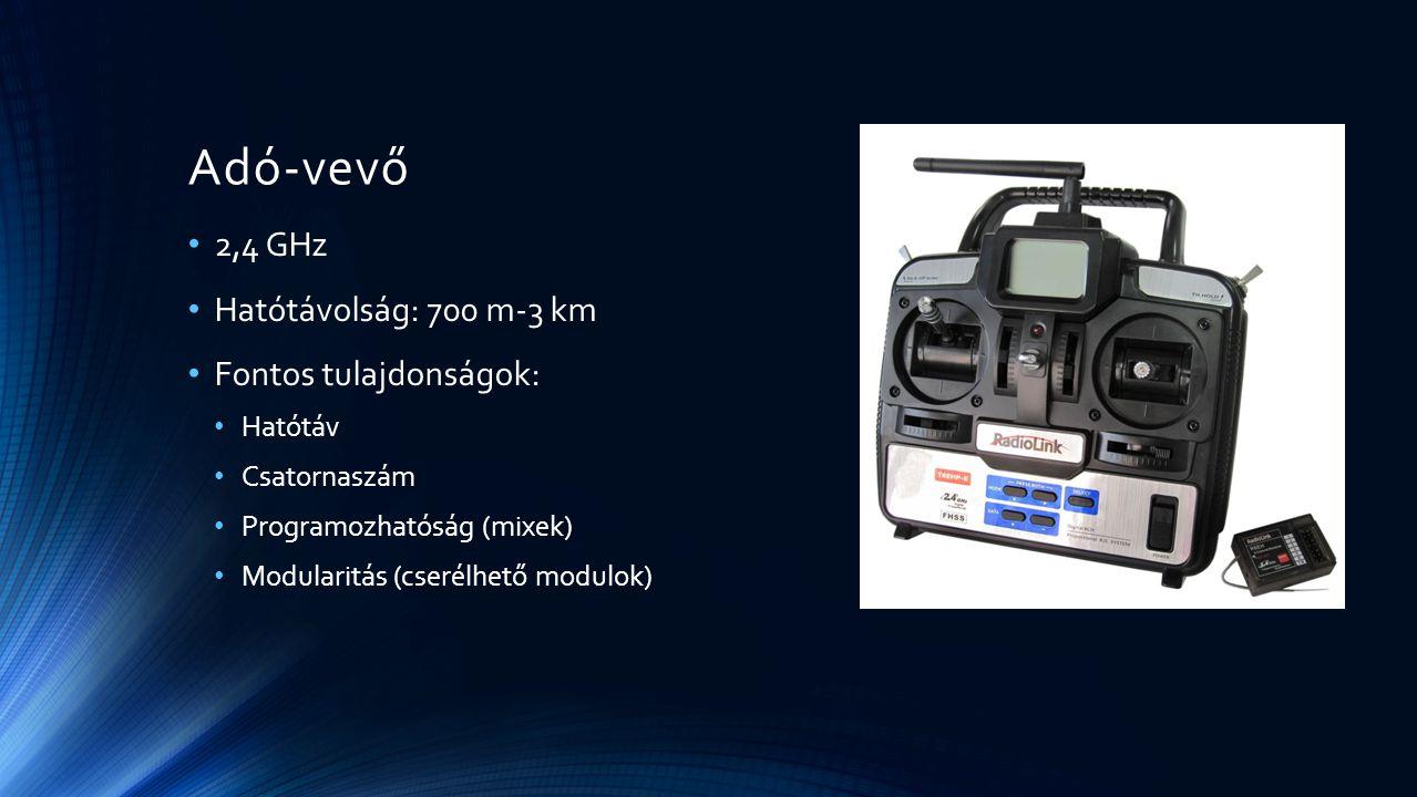 Adó-vevő 2,4 GHz Hatótávolság: 700 m-3 km Fontos tulajdonságok: Hatótáv Csatornaszám Programozhatóság (mixek) Modularitás (cserélhető modulok)