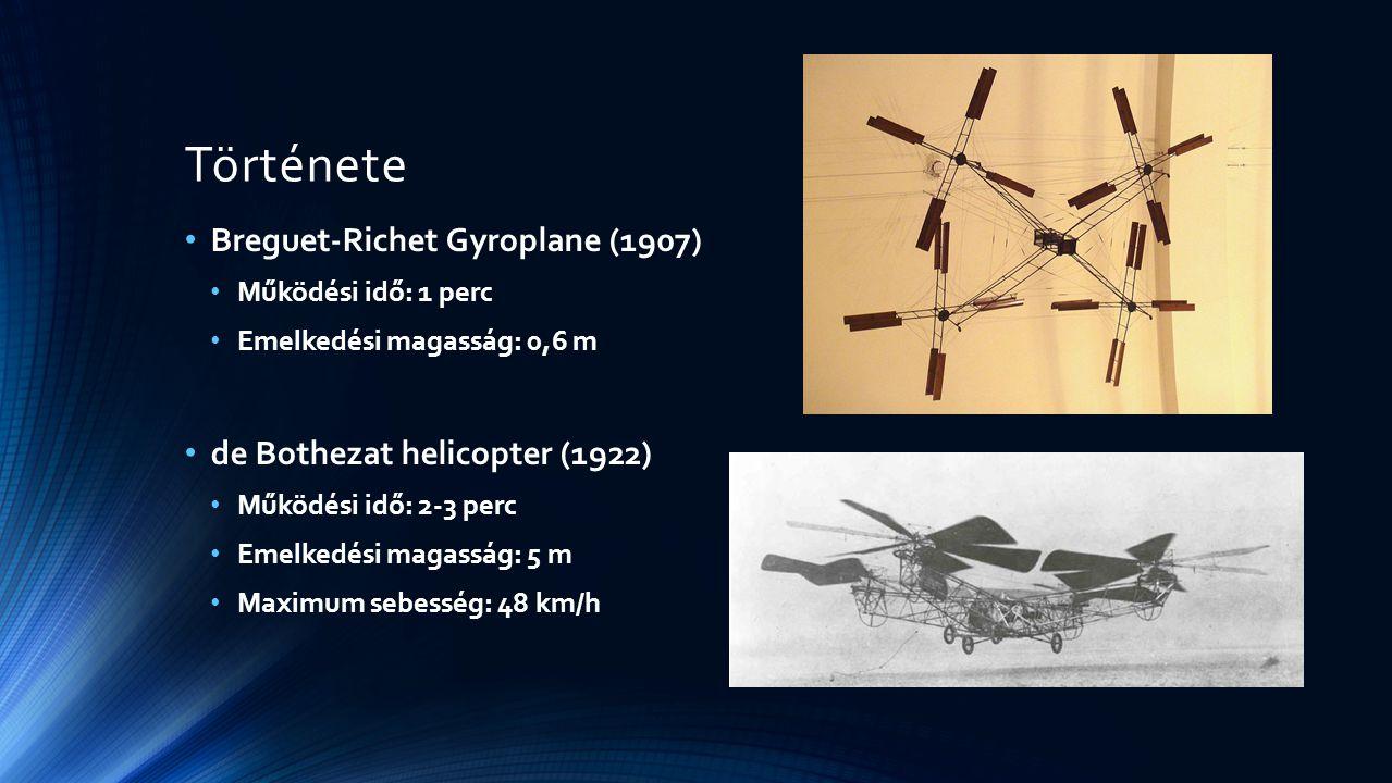 Története Breguet-Richet Gyroplane (1907) Működési idő: 1 perc Emelkedési magasság: 0,6 m de Bothezat helicopter (1922) Működési idő: 2-3 perc Emelked