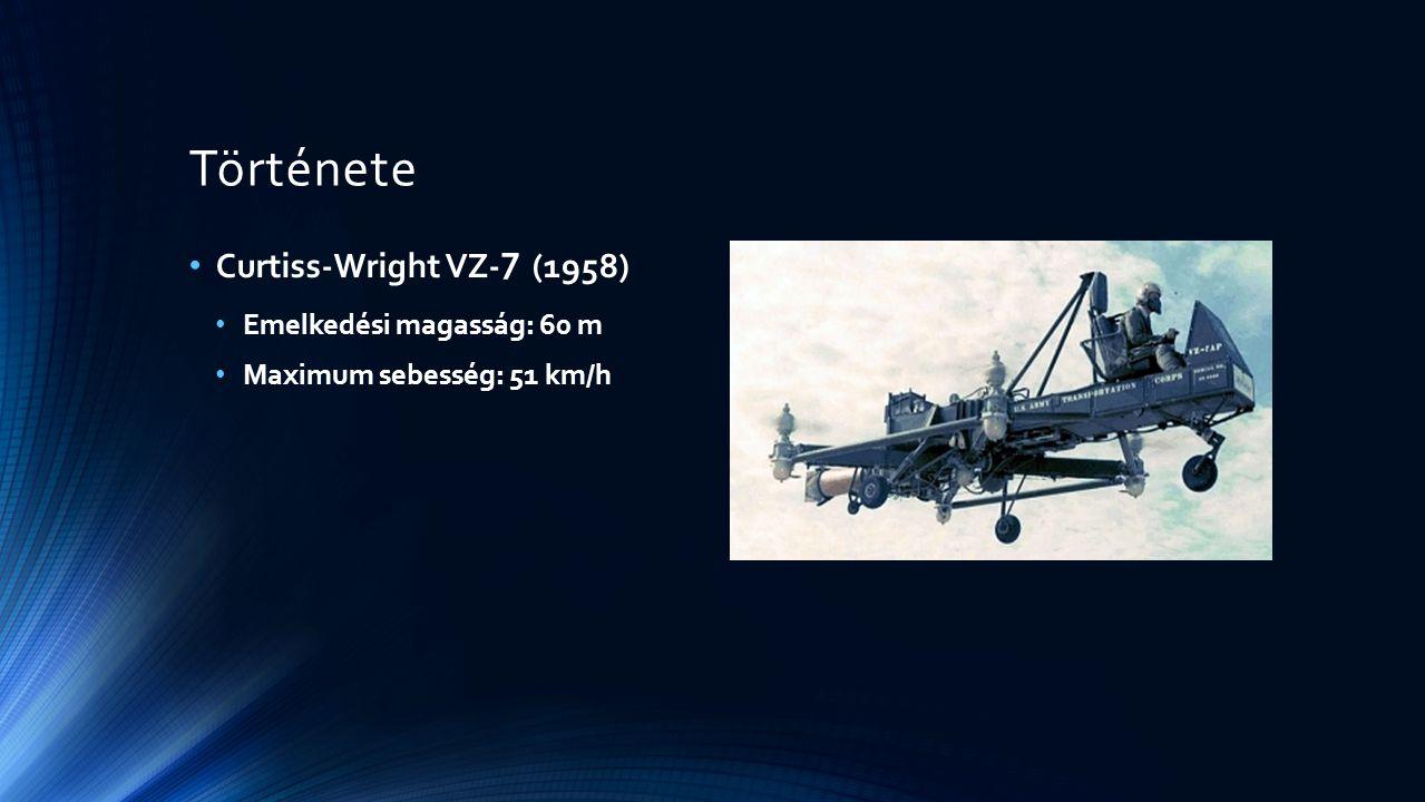 Története Curtiss-Wright VZ- 7 (1958) Emelkedési magasság: 60 m Maximum sebesség: 51 km/h