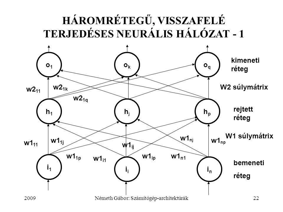 2009Németh Gábor: Számítógép-architektúrák22 HÁROMRÉTEGŰ, VISSZAFELÉ TERJEDÉSES NEURÁLIS HÁLÓZAT - 1 o1o1 okok oqoq i1i1 i inin w1 11 w1 ij w1 1j w1 1p w1 i1 w1 ip w1 n1 w1 nj w1 np kimeneti réteg h1h1 hjhj hphp rejtett réteg bemeneti réteg w2 11 w2 1k w2 1q W1 súlymátrix W2 súlymátrix