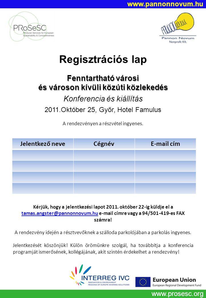 www.prosesc.org Regisztrációs lap Fenntartható városi és városon kívüli közúti közlekedés Konferencia és kiállítás 2011.Október 25, Győr, Hotel Famulus A rendezvényen a részvétel ingyenes.