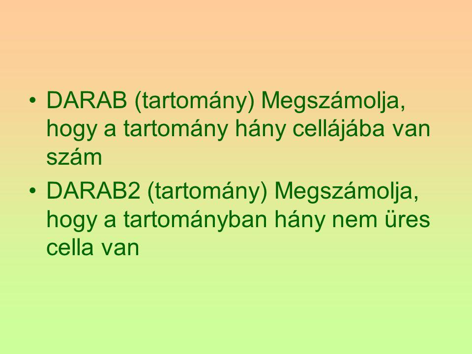 DARAB (tartomány) Megszámolja, hogy a tartomány hány cellájába van szám DARAB2 (tartomány) Megszámolja, hogy a tartományban hány nem üres cella van
