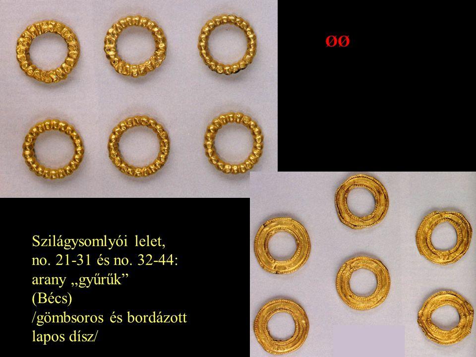 """Szilágysomlyói lelet, no. 21-31 és no. 32-44: arany """"gyűrűk"""" (Bécs) /gömbsoros és bordázott lapos dísz/ ØØ"""