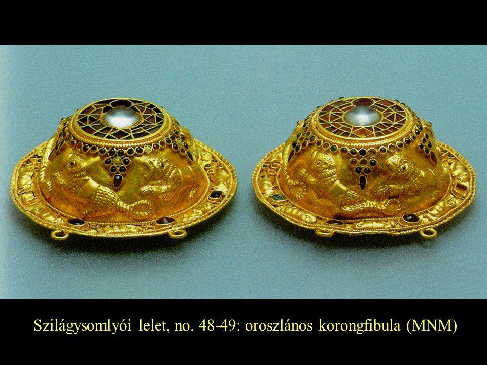 Szilágysomlyói lelet, no. 48-49: oroszlános korongfibula (MNM)
