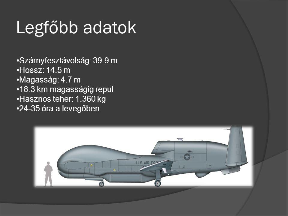 Legfőbb adatok Szárnyfesztávolság: 39.9 m Hossz: 14.5 m Magasság: 4.7 m 18.3 km magasságig repül Hasznos teher: 1.360 kg 24-35 óra a levegőben