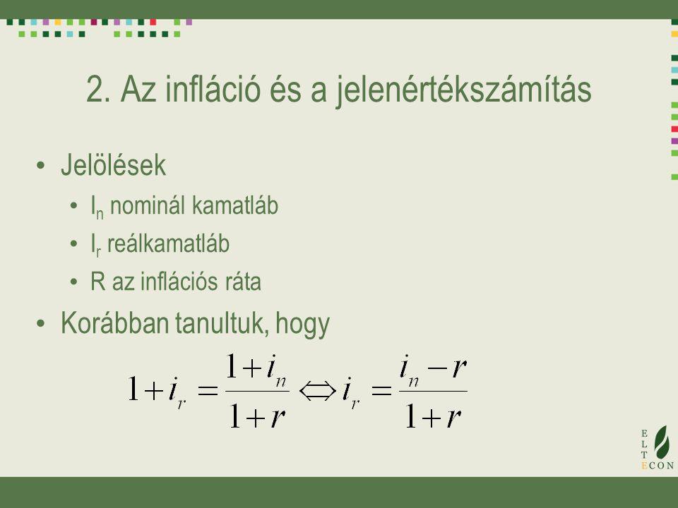 2. Az infláció és a jelenértékszámítás Jelölések I n nominál kamatláb I r reálkamatláb R az inflációs ráta Korábban tanultuk, hogy