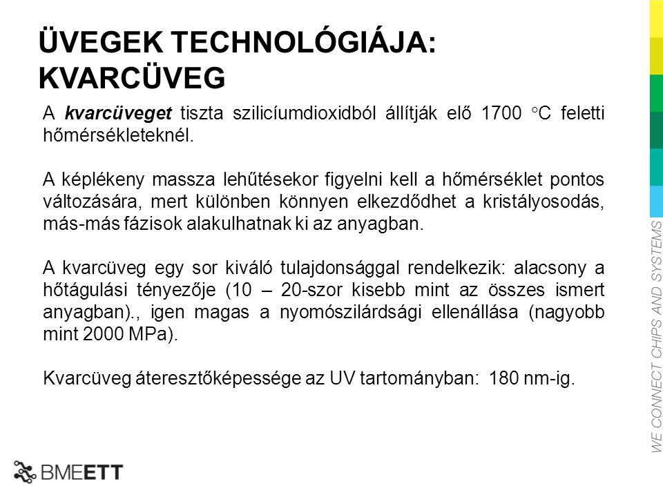 ÜVEGEK TECHNOLÓGIÁJA: KVARCÜVEG A kvarcüveget tiszta szilicíumdioxidból állítják elő 1700  C feletti hőmérsékleteknél. A képlékeny massza lehűtésekor