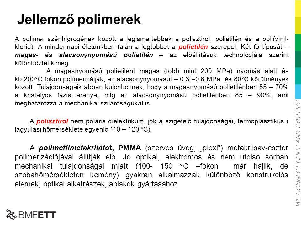Jellemző polimerek A polimer szénhigrogének között a legismertebbek a polisztirol, polietilén és a poli(vinil- klorid). A mindennapi életünkben talán