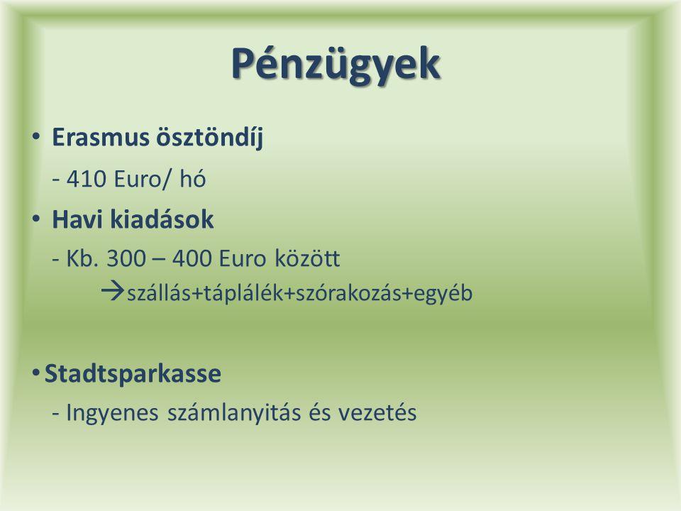 Pénzügyek Erasmus ösztöndíj - 410 Euro/ hó Havi kiadások - Kb.