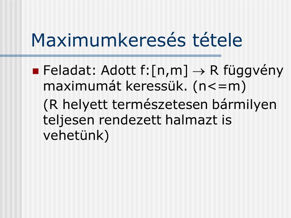 Maximumkeresés tétele Feladat: Adott f:[n,m]  R függvény maximumát keressük. (n<=m) (R helyett természetesen bármilyen teljesen rendezett halmazt is