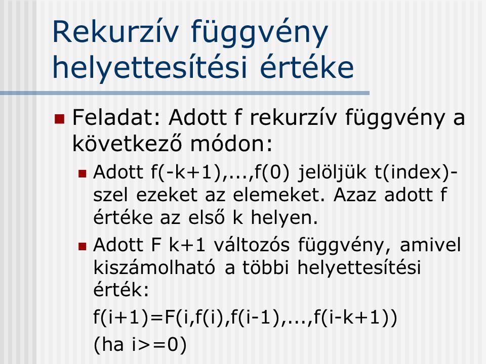 Rekurzív függvény helyettesítési értéke Feladat: Adott f rekurzív függvény a következő módon: Adott f(-k+1),...,f(0) jelöljük t(index)- szel ezeket az