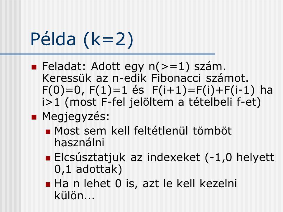 Példa (k=2) Feladat: Adott egy n(>=1) szám. Keressük az n-edik Fibonacci számot. F(0)=0, F(1)=1 és F(i+1)=F(i)+F(i-1) ha i>1 (most F-fel jelöltem a té