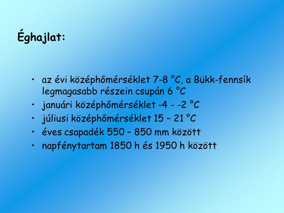 Éghajlat: az évi középhőmérséklet 7-8 °C, a Bükk-fennsík legmagasabb részein csupán 6 °C januári középhőmérséklet -4 - -2 °C júliusi középhőmérséklet