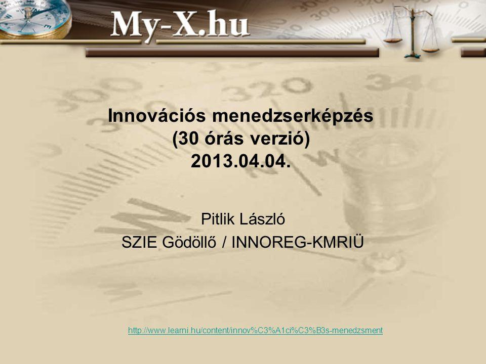 Innovációs menedzserképzés (30 órás verzió) 2013.04.04. Pitlik László SZIE Gödöllő / INNOREG-KMRIÜ http://www.learni.hu/content/innov%C3%A1ci%C3%B3s-m