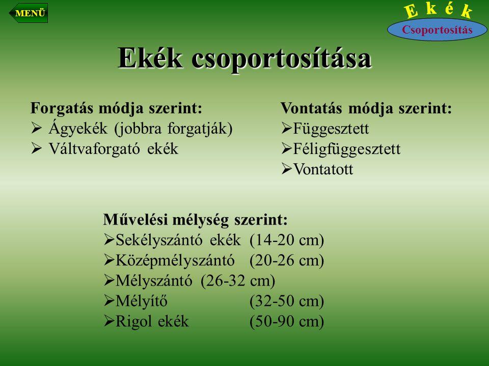 Ekék csoportosítása Forgatás módja szerint:  Ágyekék (jobbra forgatják)  Váltvaforgató ekék Csoportosítás MENÜ Vontatás módja szerint:  Függesztett