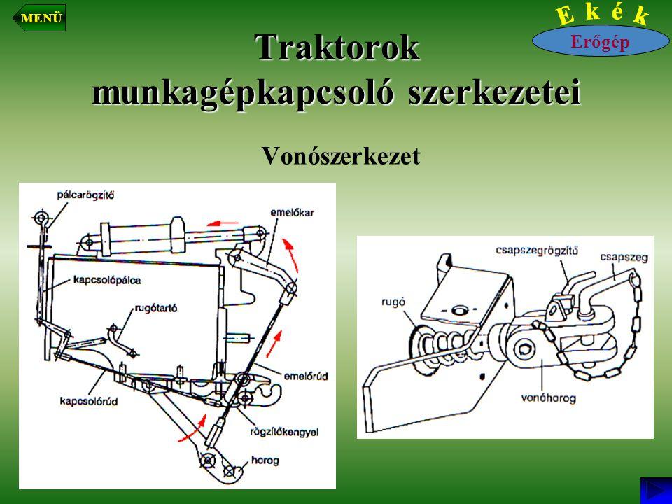 Traktorok munkagépkapcsoló szerkezetei Vonószerkezet Erőgép MENÜ