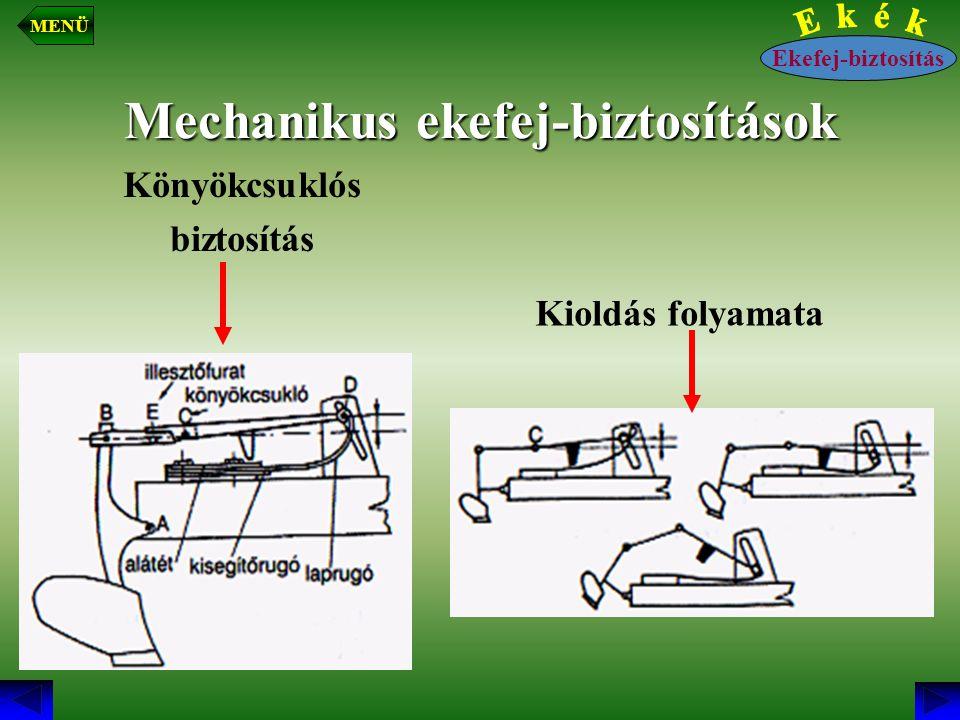 Mechanikus ekefej-biztosítások Könyökcsuklós biztosítás Kioldás folyamata Ekefej-biztosítás MENÜ