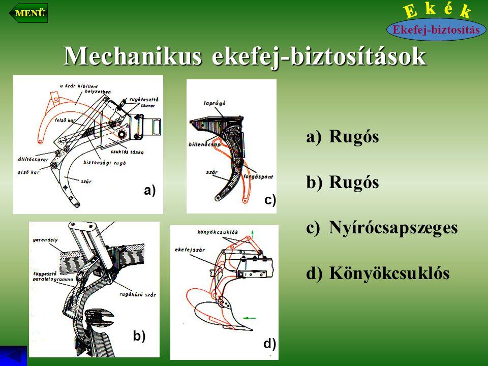 Mechanikus ekefej-biztosítások a) Rugós b) Rugós c) Nyírócsapszeges d) Könyökcsuklós d) a) b) c) Ekefej-biztosítás MENÜ