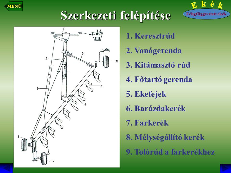 Szerkezeti felépítése 1. Keresztrúd 2. Vonógerenda 3. Kitámasztó rúd 4. Főtartó gerenda 5. Ekefejek 6. Barázdakerék 7. Farkerék 8. Mélységállító kerék