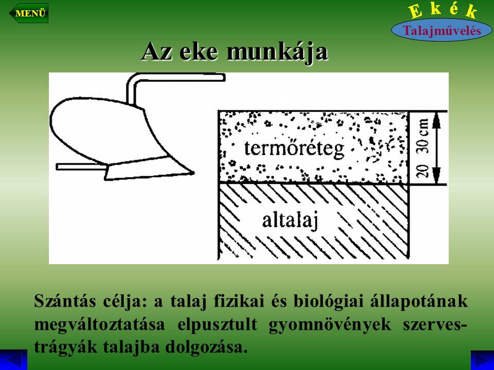 Az eke munkája Szántás célja: a talaj fizikai és biológiai állapotának megváltoztatása elpusztult gyomnövények szerves- trágyák talajba dolgozása. Tal