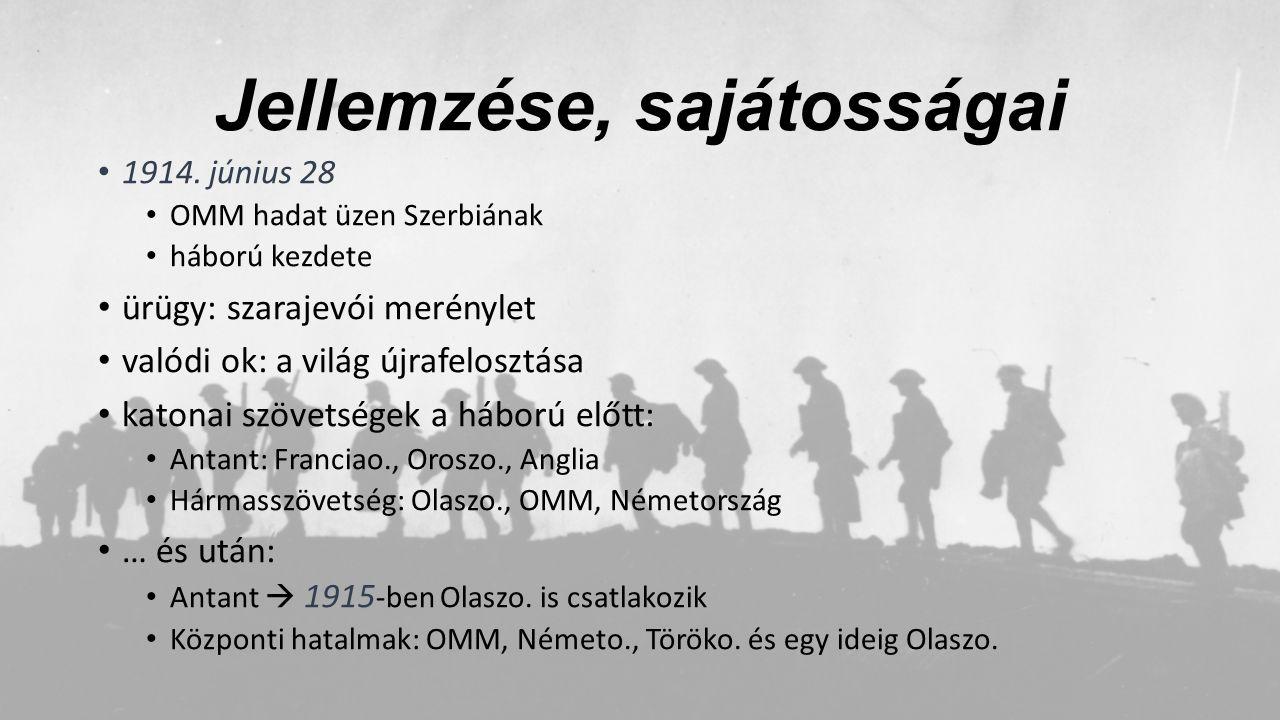 Jellemzése, sajátosságai 1914. június 28 OMM hadat üzen Szerbiának háború kezdete ürügy: szarajevói merénylet valódi ok: a világ újrafelosztása katona