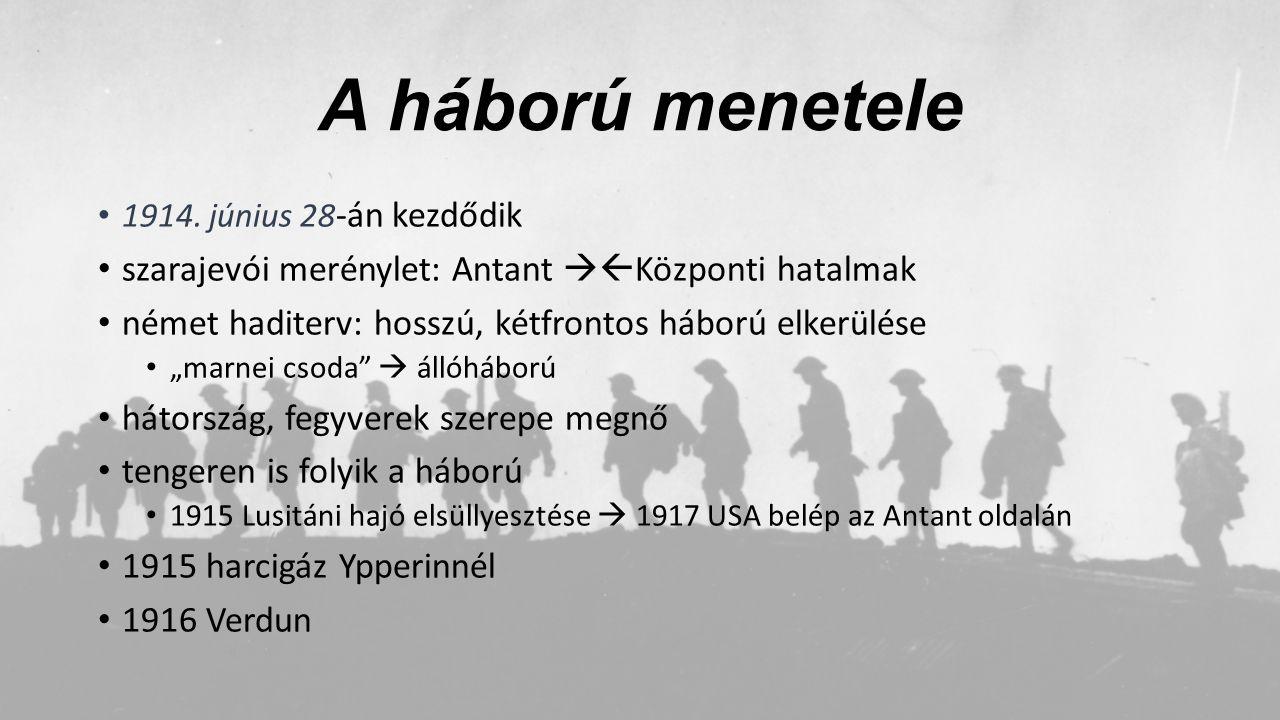A háború menetele 1914. június 28 -án kezdődik szarajevói merénylet: Antant  Központi hatalmak német haditerv: hosszú, kétfrontos háború elkerülése