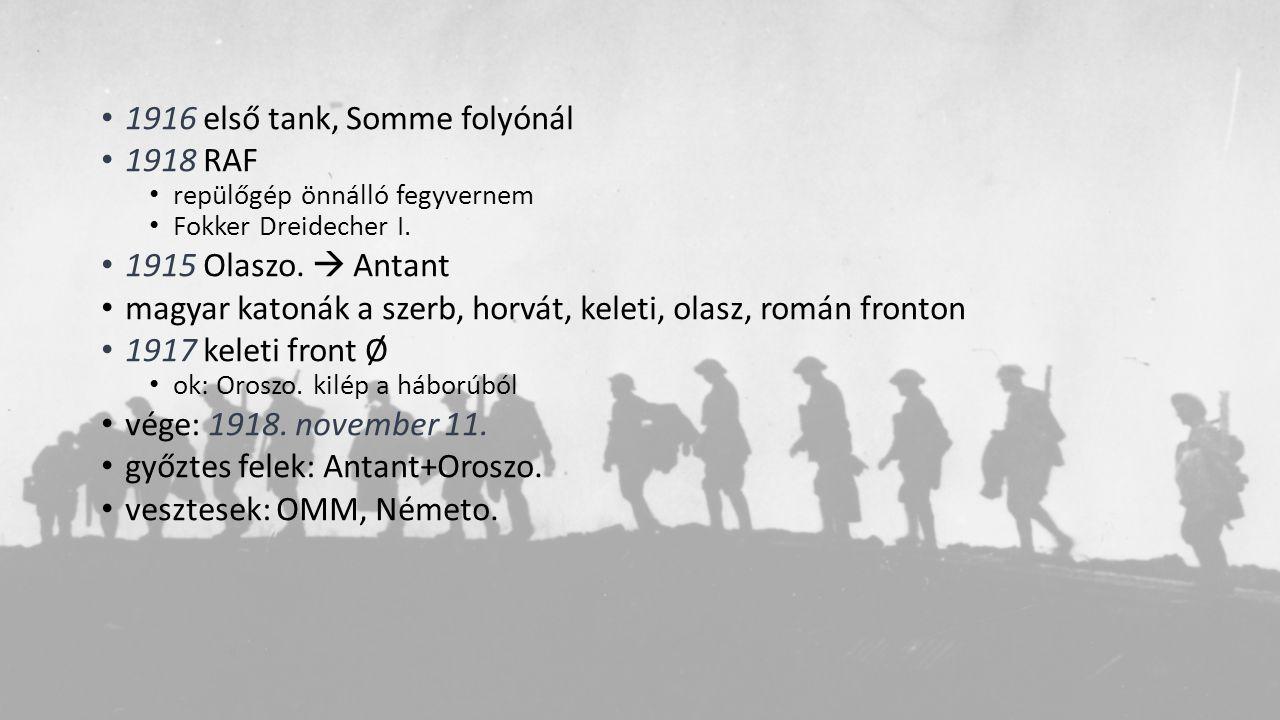 1916 első tank, Somme folyónál 1918 RAF repülőgép önnálló fegyvernem Fokker Dreidecher I. 1915 Olaszo.  Antant magyar katonák a szerb, horvát, keleti