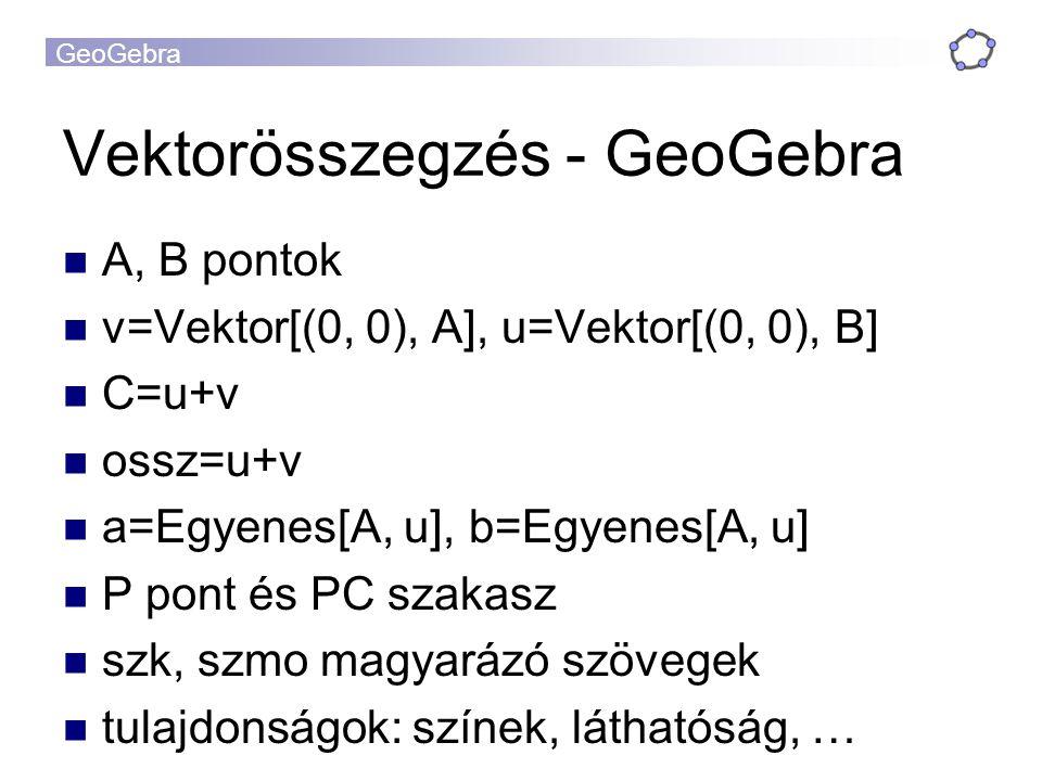 Vektorösszegzés - GeoGebra A, B pontok v=Vektor[(0, 0), A], u=Vektor[(0, 0), B] C=u+v ossz=u+v a=Egyenes[A, u], b=Egyenes[A, u] P pont és PC szakasz szk, szmo magyarázó szövegek tulajdonságok: színek, láthatóság, …