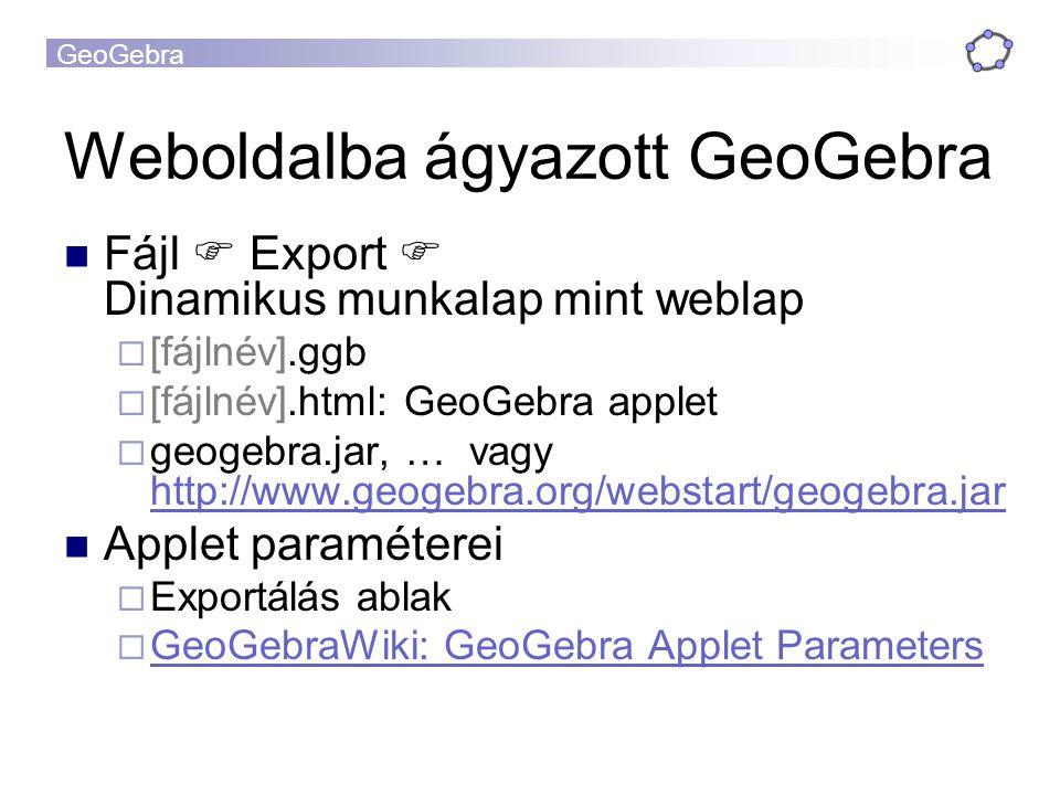 GeoGebra Weboldalba ágyazott GeoGebra Fájl  Export  Dinamikus munkalap mint weblap  [fájlnév].ggb  [fájlnév].html: GeoGebra applet  geogebra.jar, … vagy http://www.geogebra.org/webstart/geogebra.jar http://www.geogebra.org/webstart/geogebra.jar Applet paraméterei  Exportálás ablak  GeoGebraWiki: GeoGebra Applet Parameters GeoGebraWiki: GeoGebra Applet Parameters