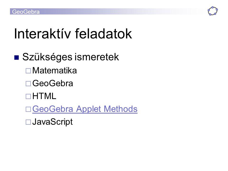 GeoGebra Interaktív feladatok Szükséges ismeretek  Matematika  GeoGebra  HTML  GeoGebra Applet Methods GeoGebra Applet Methods  JavaScript