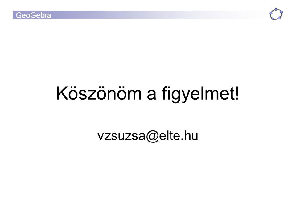 GeoGebra Köszönöm a figyelmet! vzsuzsa@elte.hu