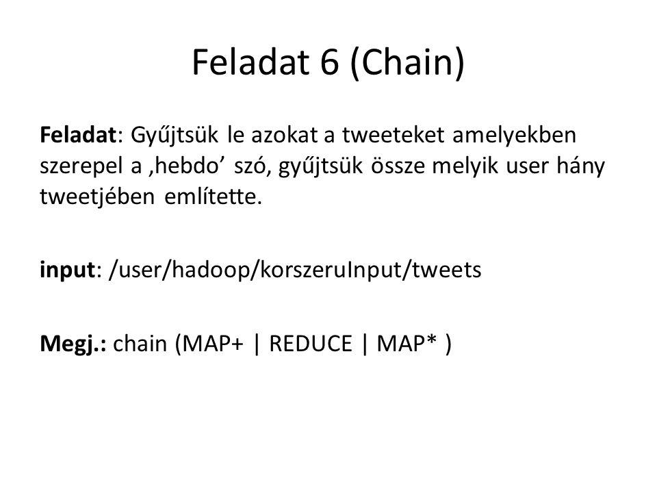 Feladat 6 (Chain) Feladat: Gyűjtsük le azokat a tweeteket amelyekben szerepel a 'hebdo' szó, gyűjtsük össze melyik user hány tweetjében említette. inp