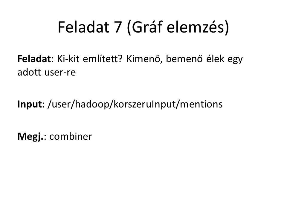 Feladat 7 (Gráf elemzés) Feladat: Ki-kit említett? Kimenő, bemenő élek egy adott user-re Input: /user/hadoop/korszeruInput/mentions Megj.: combiner