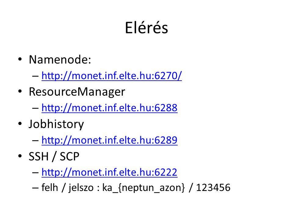 Elérés Namenode: – http://monet.inf.elte.hu:6270/ http://monet.inf.elte.hu:6270/ ResourceManager – http://monet.inf.elte.hu:6288 http://monet.inf.elte